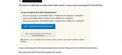 AMP Scam email that you recently made a funds transfer