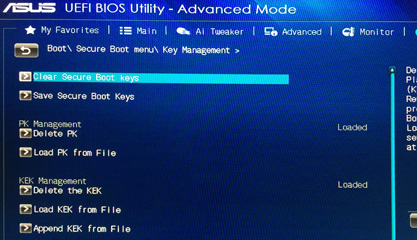 Disable ASUS Motherboard's UEFI Secure Boot - Next Century