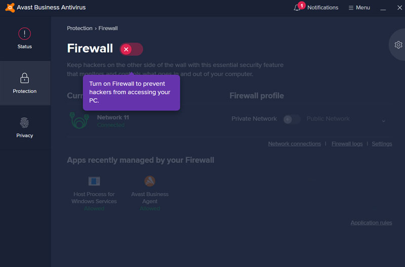 AVAST Business CloudCare Firewall is turned off