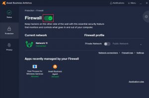 Avast Business CloudCare Firewall Enabled