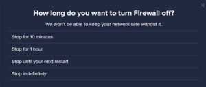 Avast Business CloudCare How long do you want to turn Firewall off