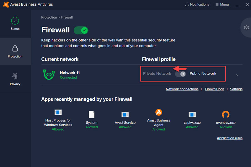Avast CloudCare Firewall select Private Network